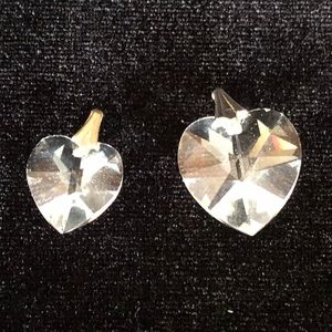 Pair of clear heart pendants